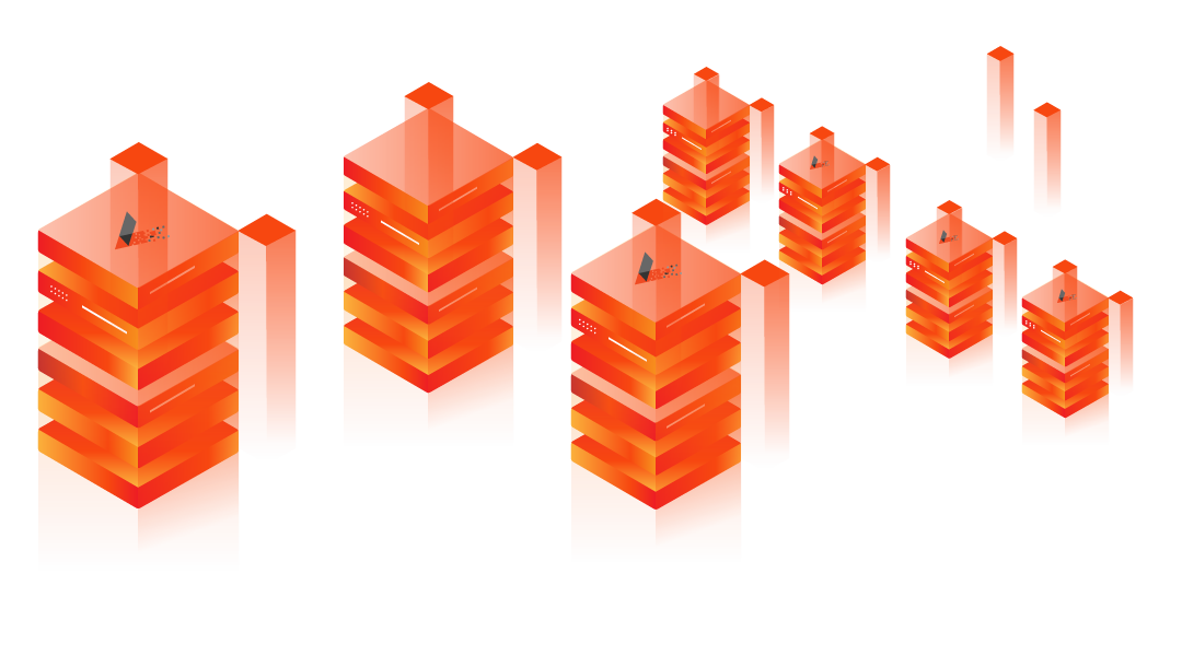 Ilustración de racks de servidores dedicados